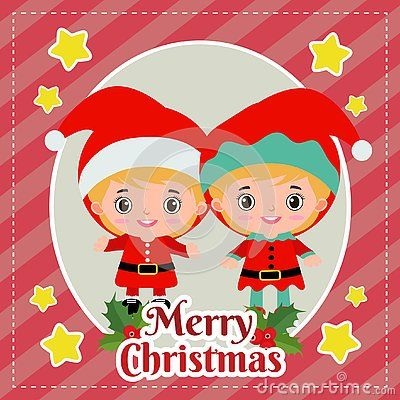 Template Merry Christmas Card With Kids Santa And Elf Merry Christmas Card Christmas Cards Merry
