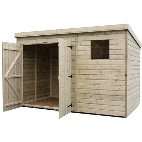 4500 Pent 10x6 Double Door Left Windows In 2020 Garden Shed Wooden Sheds Shed