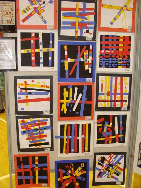 Gluing: Red,Yellow,Blue paper Black or white background Mondrian style paper str. - Gluing: Red,Yellow,Blue paper Black or white background Mondrian style paper strip collage - Piet Mondrian, Mondrian Kunst, Kindergarten Art Lessons, Art Lessons Elementary, Elementary Teaching, Classe D'art, First Grade Art, Ecole Art, Process Art