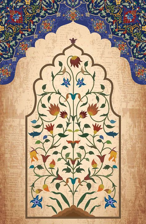 Mughal and Persian illustration Islamic Motifs, Islamic Art Pattern, Pattern Art, Mughal Paintings, Indian Art Paintings, Mughal Miniature Paintings, Islamic Paintings, Persian Pattern, Persian Motifs