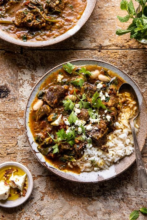 Persian Inspired Herb and Beef Stew with Rice. When you're craving a hearty but healthy dinner this stew with rice is perfect.made quick in the instant pot or let it take its time in the slow cooker or oven! Slow Cooker Recipes, Beef Recipes, Cooking Recipes, Healthy Recipes, Recipies, Cod Recipes, Chickpea Recipes, Salmon Recipes, Pizza Recipes