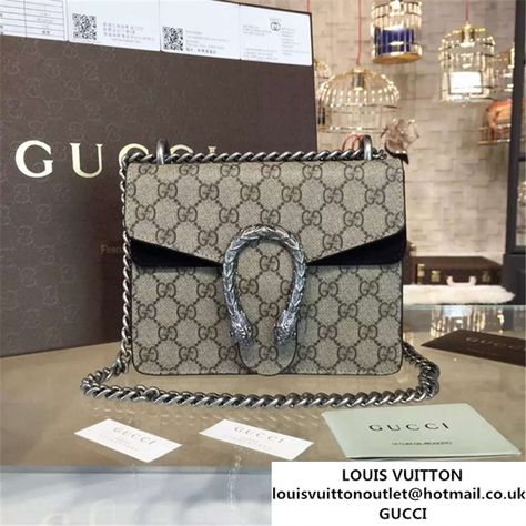 415805c348b Gucci Dionysus GG Supreme Shoulder Small Bag Fall Winter 2016 Collection  Black Suede Beige