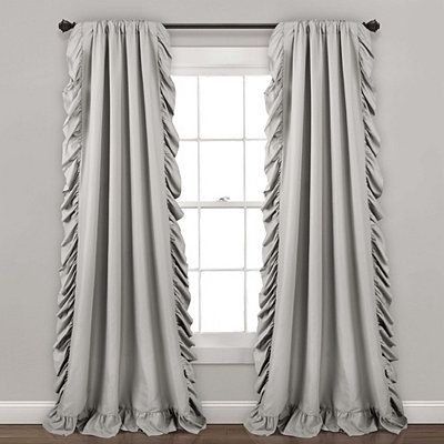 Gray Reyna Ruffle Curtain Panel Set 95 In In 2020 Panel