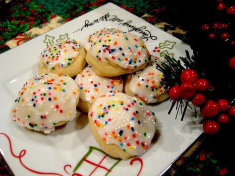 Italian Anise Cookies With Icing and Sprinkles from Food.com:   								These delicate cake-like cookies are glazed with icing and topped with colorful candy sprinkles.  They have a mild anise flavoring, which is very typical of Italian baked goods.  My family always served these cookies at holidays, weddings or special celebrations, but now that I know the recipe, I can enjoy them all year long!
