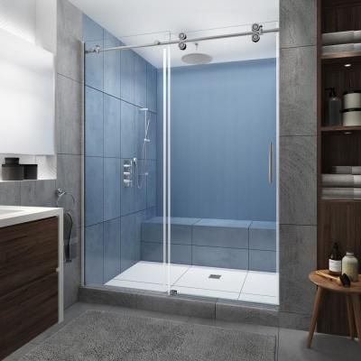 Aston Coraline Xl 44 48 In X 80 In Frameless Sliding Shower Door With Starcast Clear Glass In 2020 Frameless Sliding Shower Doors Sliding Shower Door Shower Doors