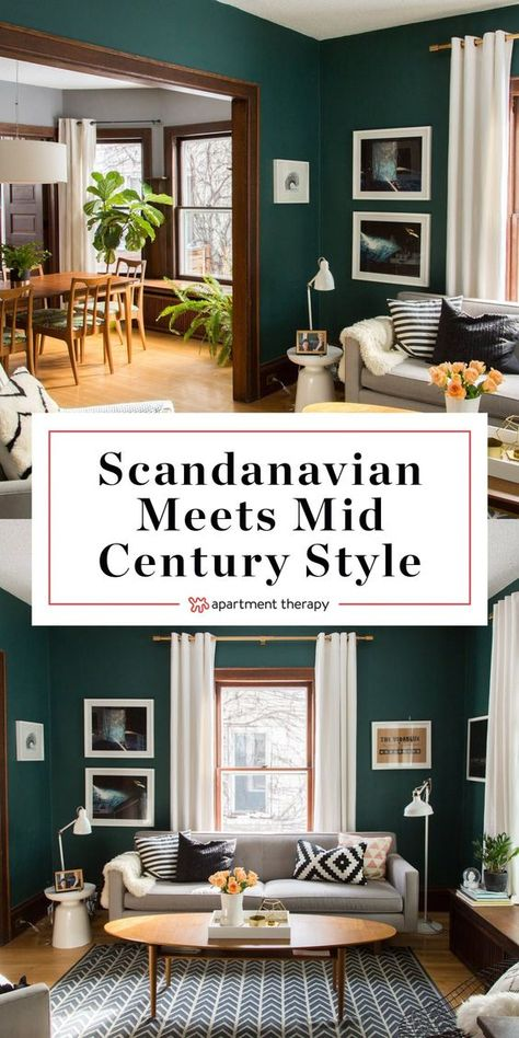 House Tour: Chill Scandinavian Meets Mid-Century Modern Style | Apartment Therapy. Looking for decorating ideas? Dark green painted walls and wood trim give this home so much character. Take a tour and check out the interiors of the bedrooms, living room, kitchen, bathrooms, and more.