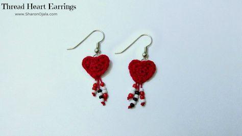 Homemade Obsessions: Sea of Hearts Thread Crochet Earrings