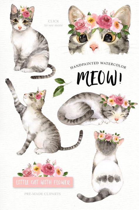 Meow Cat Lover Watercolor Cliparts Woodland Animals Kids | Etsy