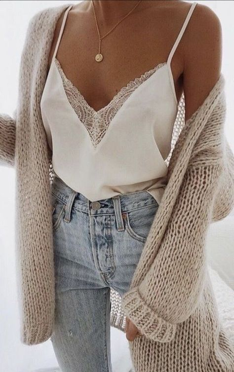 Stylish outfit | cami | sweater | high rise jeans