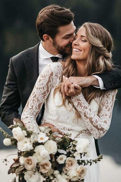 Chic Long Sleeve Two Pieces Long Wedding Dress, Lace Bodice Top Wedding Dress, Long Bridal Dr. Chic Long Sleeve Two Pieces Long Wedding Dress, Lace Bodice Top Wedding Dress, Long Bridal Dress Wedding Picture Poses, Wedding Photo Props, Beach Wedding Photos, Beach Wedding Photography, Wedding Poses, Wedding Photoshoot, Sunset Wedding, Wedding Gold, Wedding Portraits
