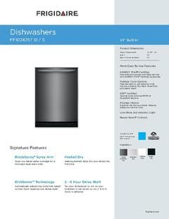 View Product Specifications Sheet Pdf Built In Dishwasher Black