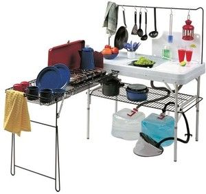 Portable Camping Kitchen Table Dual Pressurized Sink Cutting ...