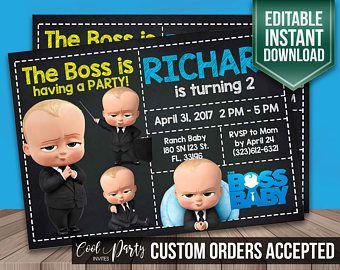The Boss Baby Invitation The Boss Baby Birthday Party Invite Baby Birthday Themes Baby Boy Birthday Themes Boy Birthday Parties