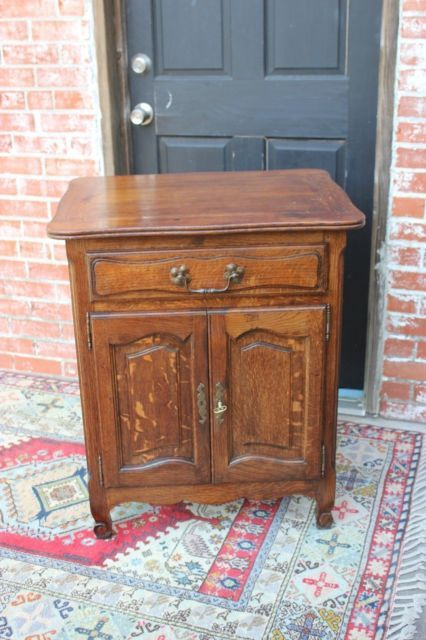 Antique French Oak 2 Door 1 Drawer 2 Shelf Cabinet Small Nightstand Side Table Small Nightstand French Oak French Antiques