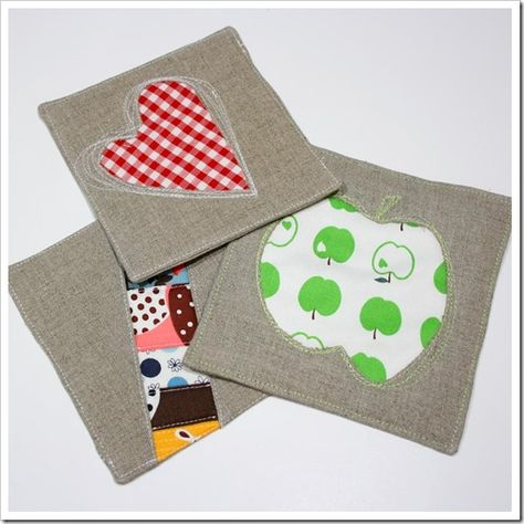 Tutorial for reverse applique hot pads (or coasters). I made a couple, super fast to sew up, and cute too! Great as gifts :)