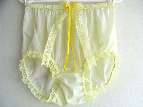 83a281c13fd8 Yellow Sheer Nylon Granny Panties Briefs Panty Yellow Lace Leg Trimmed Bow  Ribbon Lacy Underwear Nylon