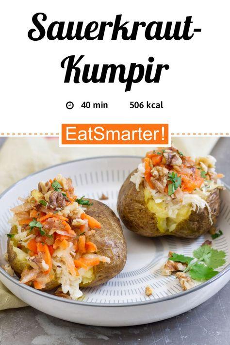 Bauchschmeichler: Sauerkraut-Kumpir - 505 kcal - einfaches Gericht - So gesund ist das Rezept: 9,1/10 | Eine Rezeptidee von EAT SMARTER | Ernährung, Clean Eating, Vegetarisch, Vegetarisches Mittagessen, Vegetarisches Abendessen, Vegetarische Hauptgerichte, Gesundheit, Darmflora, Kochen, Gemüse, Kohlgemüse, Käse, Milchprodukte, Mahlzeit, Mittagessen, Abendessen #kartoffel #gesunderezepte