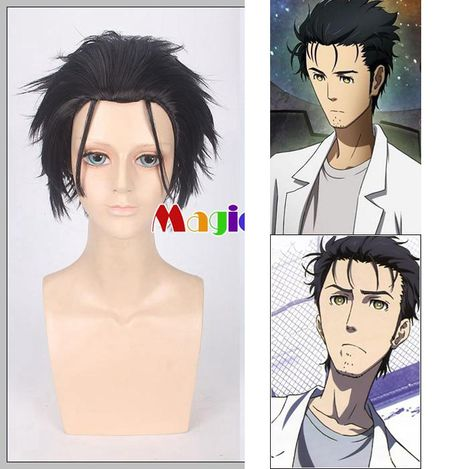 Steins Gate Rintarou Okabe Cosplay Wig Black Short Straight Halloween  Synthetic Hair. Yesterday s price  9990d766a79e