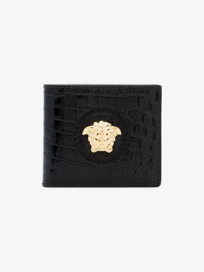 Versace Black Medusa Crocodile Embossed Leather Wallet Browns Embossed Leather Wallet Leather Wallet