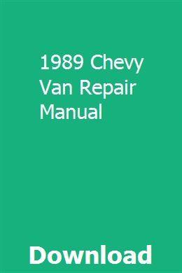 1989 Chevy Van Repair Manual Repair Manuals Chevy Van Chevy