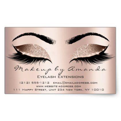 Eyelash Extension Makeup Beauty Salon Microblading Rectangular Sticker Zazzle Com Makeup Eyelashes Makeup Artist Gifts Pink Makeup