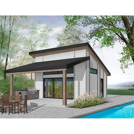 The House Designers Thd 4959 Builder Ready Blueprints To Build A Cabana Pool House Plan With Slab Foundation 5 Printed Sets Walmart Com In 2021 Modern Pool House Pool House Designs Pool House Plans