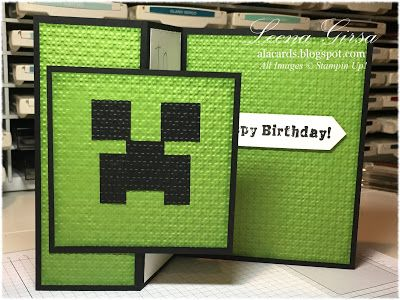 A La Cards Kids Week Continues Minecraft Style Minecraft Birthday Card Minecraft Cards Kids Birthday Cards