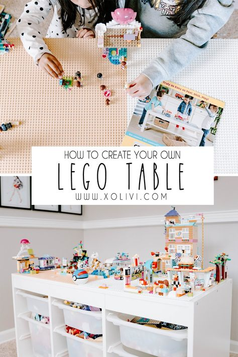 Easy DIY Lego Table Easy DIY Lego Table Easy DIY Lego Table Have you been stepping on legos? Are your kids room are messy with random legos everywhere? Don't want to pay for an actual lego table? Don't worry, my fellow parent… I've g… Lego Table Ikea, Lego Table With Storage, Lego Play Table, Lego Desk, Ikea Toy Storage, Kids Storage, Mesa Lego, Trofast Ikea, Ikea Expedit