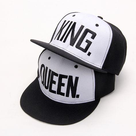 30fa58b6bdb VORON Letters Hip Hop Cap Women Men Hats Cap King Queen Caps for Lovers Unisex  Snapback hat Adjustable Bone Black Baseball cap