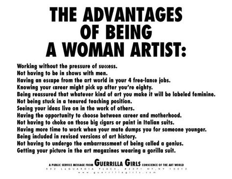 """""""The Advantages of Being a Woman Artist,"""" 1988"""