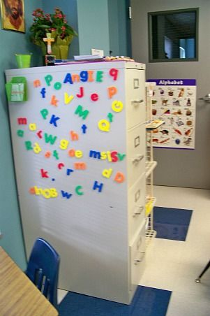 Love the little magnetic basket in the corner with word cards in it for the kiddos to use. This post has TONS of ABC center ideas:)