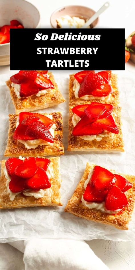 These Strawberry Tartlets are so quick to prepare and absolutely delicious! Using store-bought puff pastry, the tarts are topped with a vanilla cream cheese mixture and fresh strawberries. #strawberrytartlets #ministrawberrytarts #strawberrytarts #minitarts #strawberryrecipes #puffpastryrecipes #cravecookconsume #itsnotcomplicatedrecipes