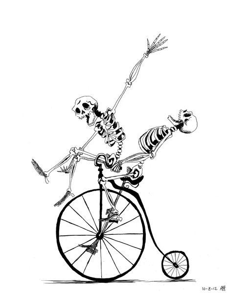 31 DOH: Bones and Bicycles by croonstreet Tatoo Bike, Bike Tattoos, 1 Tattoo, Tattoo Drawings, Art Drawings, Skeleton Tattoos, Skeleton Art, Bicycle Art, Bicycle Decor