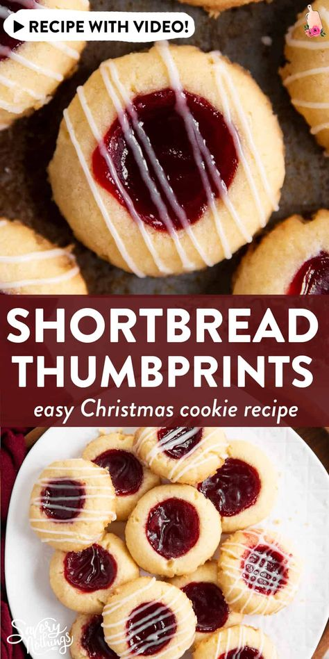 Try these Shortbread Thumbprint Cookies for the ultimate classic Christmas treat. With tips to make the best looking cookies! | #christmascookies #christmasbaking #holidaycookies #holidaybaking #christmas #holidayrecipe #christmasrecipe #cookierecipe