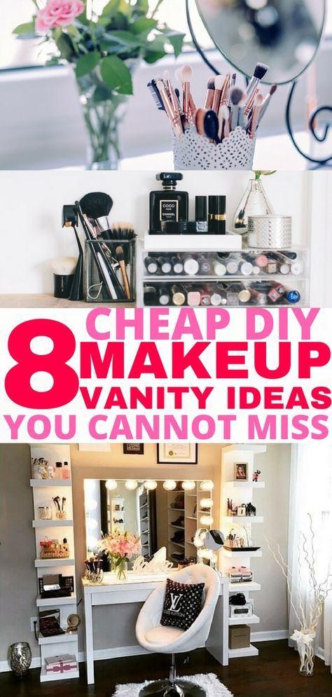 8 Easy Diy Makeup Vanity Ideas You Cannot Miss Diy Makeup Vanity Easy Diy Makeup Makeup Organization Vanity Diy