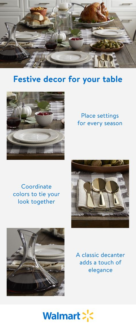 Bring the holidays to your table with festive decorations. Shop Walmart for color- coordinated, themed place settings to create a seasonal tablescape that's just your style.