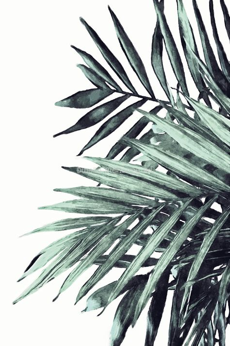 Palm Leaf Print Watercolor Palm Leaves Tropical Leaf Print | Etsy