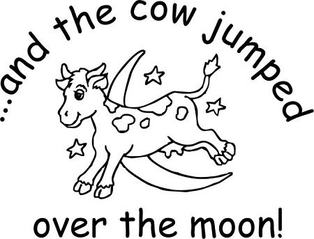 Cow Jumping Over The Moon Coloring Pages Moon Coloring Pages