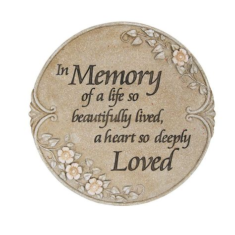 Remember those who have passed with this Carson Home Accents Luminous Garden Memory Stone/Plaque. This luminous garden stone creates a space of remembrance in your garden or by a cemetery marker. The decorative garden stone reads In memory of a life so beautifully lived, a heart so deeply loved. The garden stepping stone features delicate floral decorations along the edges. The floral design glows peacefully a night. This added ornamentation has a lovely, hand-carved appearance. Made from weathe