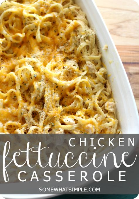 This delicious chicken fettuccine casserole recipe is simple and tasty! Perfect for a weeknight meal!