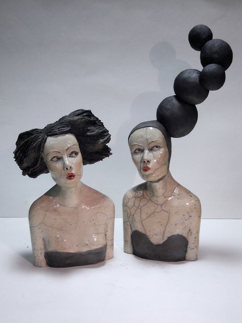 Melanie Bourgets two Raku ceramic sculptures Souffle and Bulles will be shown by Hybrid Gallery. 40 x 60 cm 1100 -