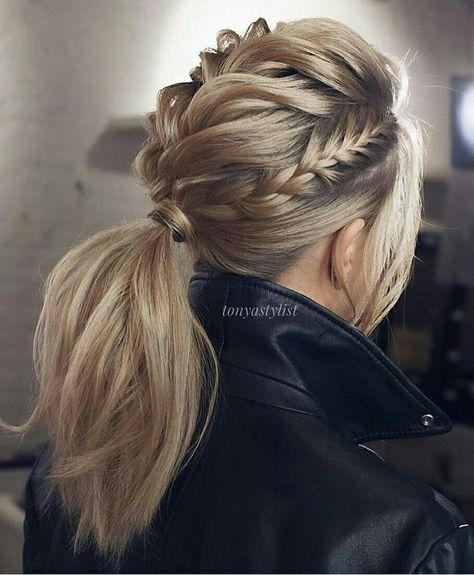 @hair_style_trends Rabo de cavalo com  tranças de raiz