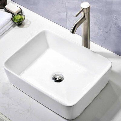 Comllen Ceramic Rectangular Vessel Bathroom Sink In 2020 Vessel