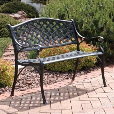 Sunnydaze Decor Checkered 2 Person Black Cast Aluminum Outdoor Bench Outdoor Garden Bench Patio Bench Outdoor