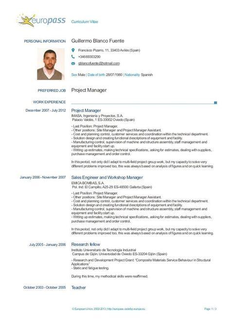 Inspiring Cv Template Europeo Collection Dengan Gambar In 2020 Cv Format Cv Template Cv Design Template