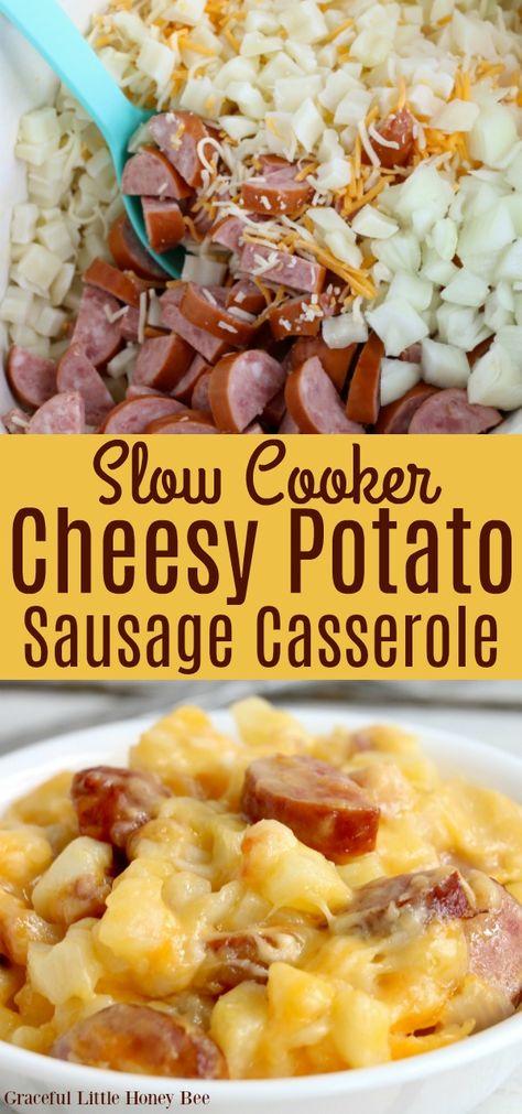 Slow Cooker Cheesy Potato Sausage Casserole