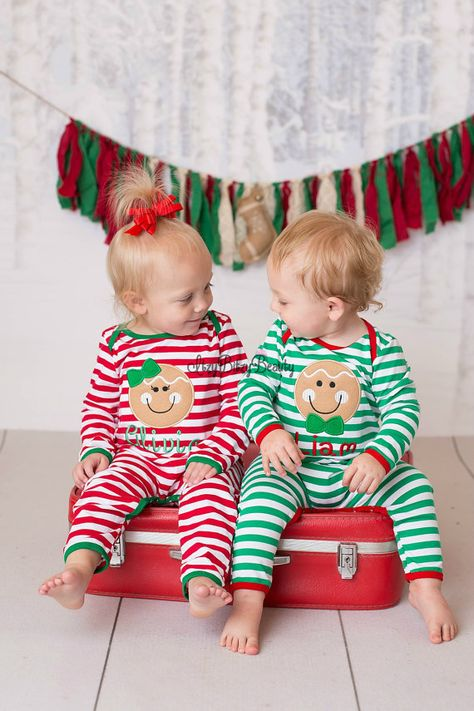 917b9041 Gingerbread man Christmas pajamas red white green stripes sibling twins boy  girl embroidered twins personalized monogram newborn baby