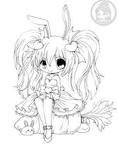 Kasumi Bunny Chibi Lineart By Yampuff Chibi Coloring Pages Cute Coloring Pages Coloring Pages