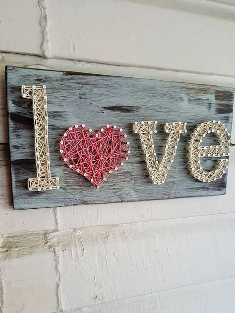 Love String Art Sign This is a small sign, measuring 10 inches long by 6 inches high (6x10). Great for if you have a small space to fill or want to fill a spot on your gallery wall. The sign is stained in dark walnut colored stain, painted with a teal colored chalk paint and