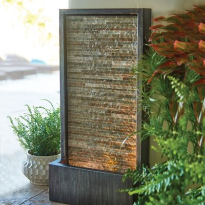 Slate Water Wall Outdoor Fountain With Led Light Improvements